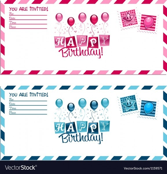 Birthday Party Invitation Envelope Royalty Free Vector Image