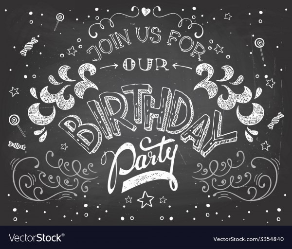 Birthday Party Invitation On Chalkboard Royalty Free Vector