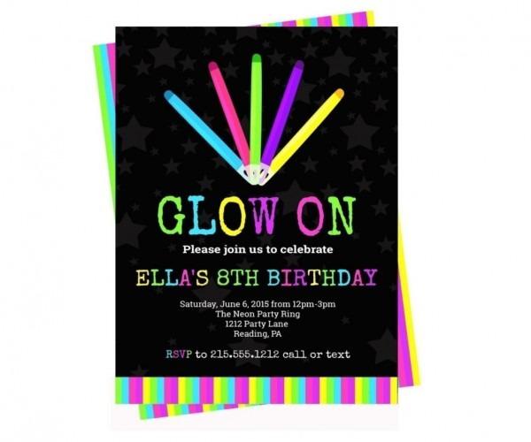 Amazing Neon Party Invitations