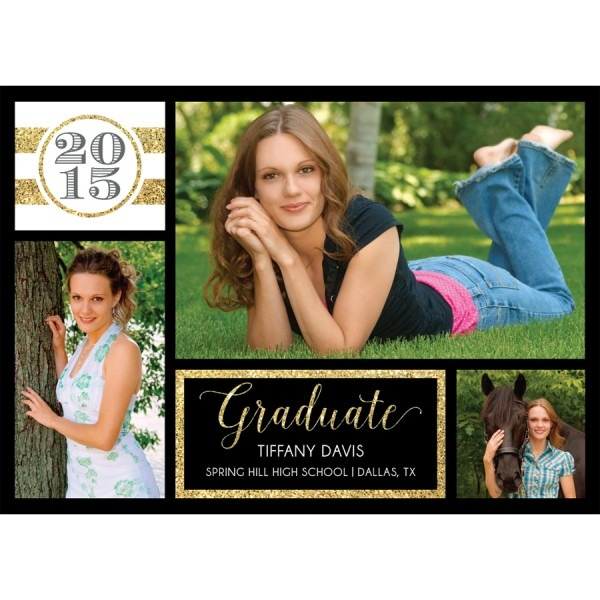 Gold Glitter Graduation Announcement