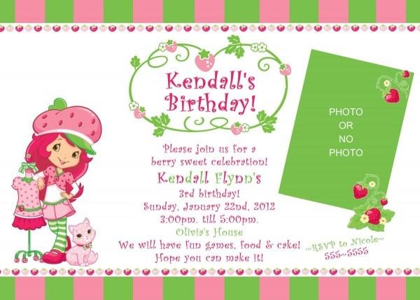 Strawberry Shortcake Birthday Invitation Template Free