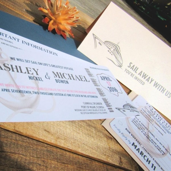 Boarding Pass Wedding Invitation ~ Sail Away With Us ~ Ticket