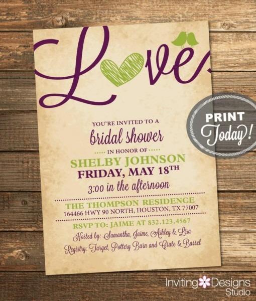 Bridal Shower Invitation, Love, Birds, Heart, Purple, Apple Green