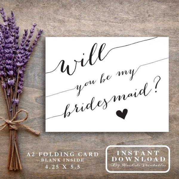 Bridesmaid Card Printable  Will You Be My Bridesmaid  Asking
