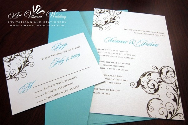 Brown And Blue Wedding Invitations Tiffany Blue And Brown Wedding