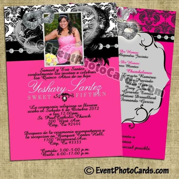 Pink Masquerade Quinceanera Invitations