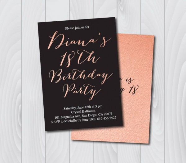 18th Birthday Invitation Printable Pink & Black Birthday