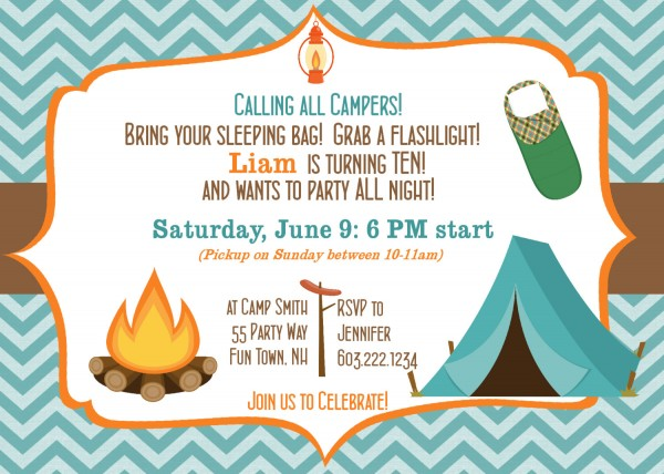 Camping Birthday Invitations Camping Birthday Invitations Also