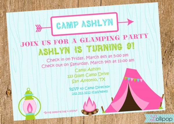 Birthday Invitation Template Camping Birthday Invitations Birthday