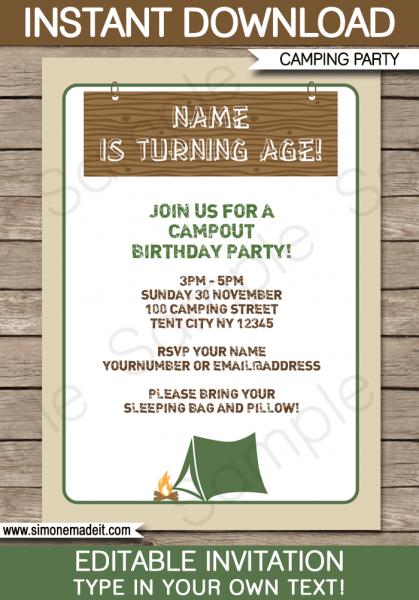 Camping Party Invitations Elegant Party Theme Invitation Templates