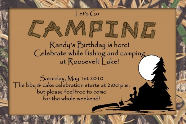 Hunt 4 Announcements And Invites  Camo Camping Birthday Invite