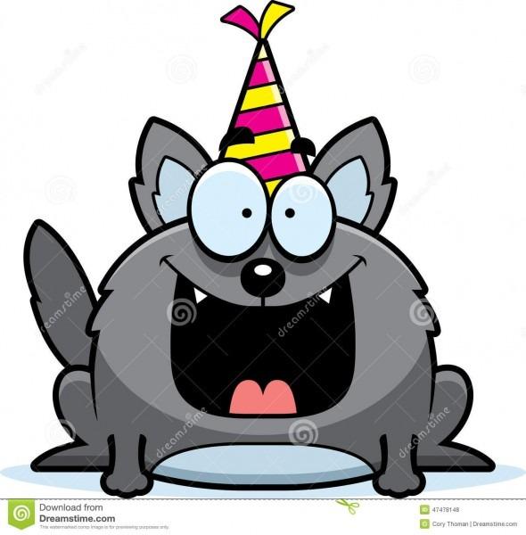 Cartoon Wolf Birthday Party Stock Vector
