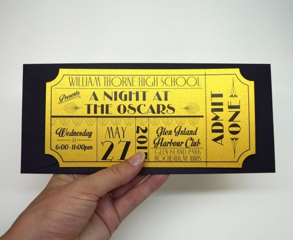 Old Hollywood, Art Deco, Red Carpet, Gold Movie Ticket Prom