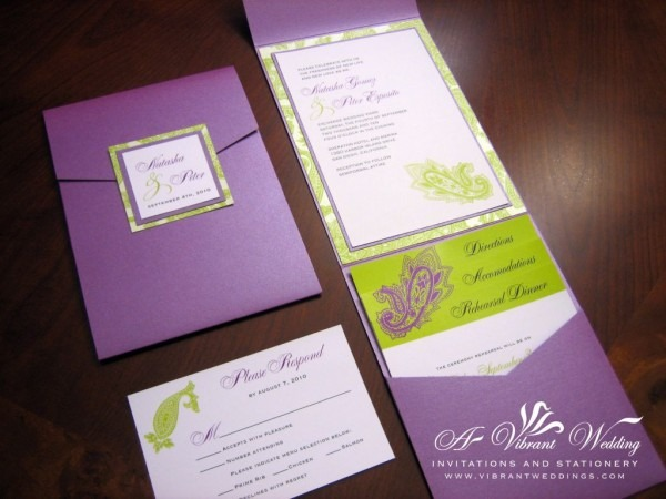 Purple And Green Wedding Invitation By A Vibrant Wedding  5x7