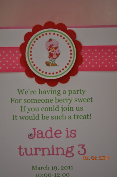 Cute Wording Vintage Strawberry Shortcake Invitations, Set Of 12