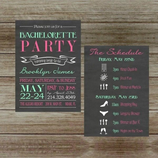Chalkboard Bachelorette Party Invitation With Schedule Two Sided