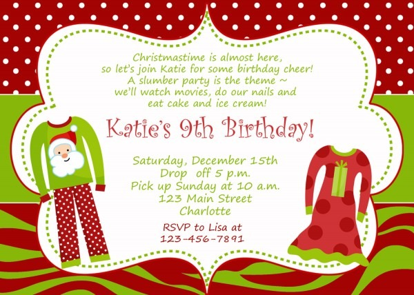 Christmas Birthday Invitations Christmas Birthday Party Invitation