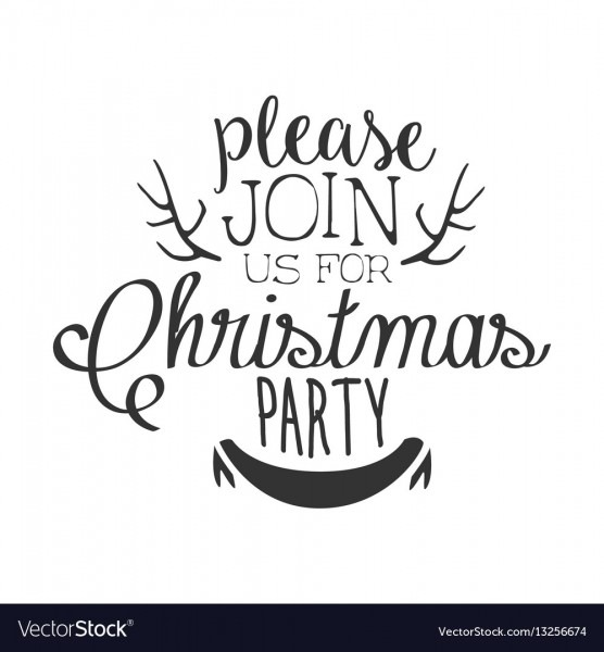 Christmas Party Black And White Invitation Card Vector Image