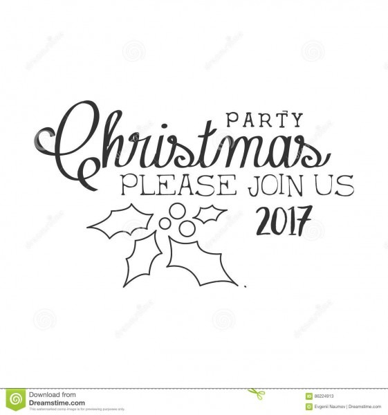 2017 Christmas Party Black And White Invitation Card Design