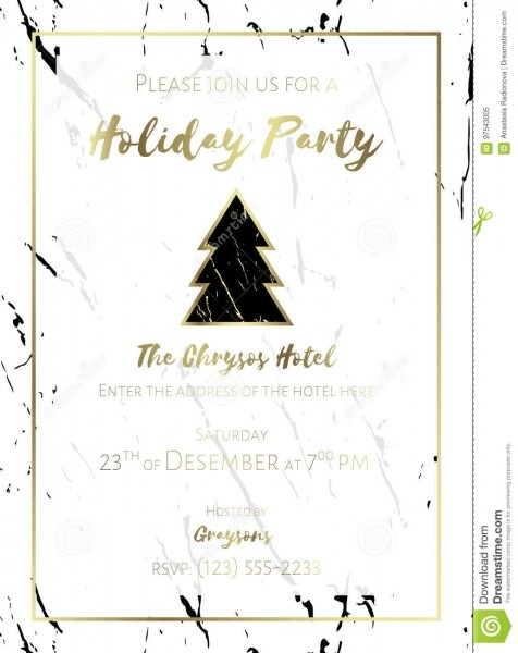 Christmas Party Invitation  Black, Gold And White  Stock Vector
