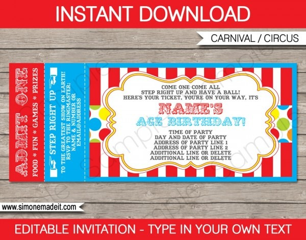 Circus Birthday Invitations Carnival Ticket Wedding Invitations