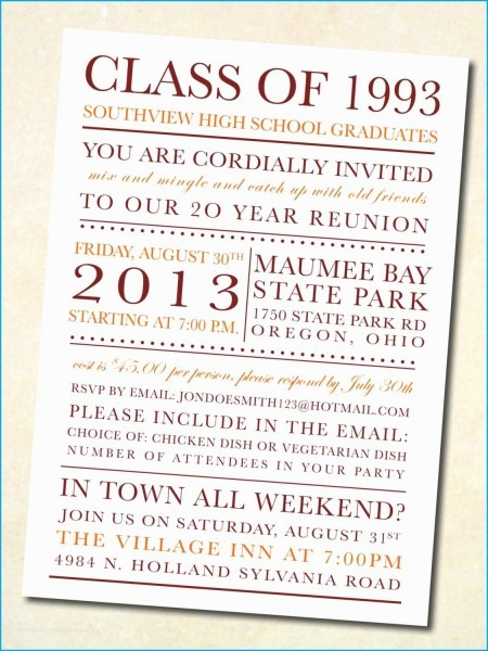 Class Reunion Invitation Template Incomparable High School Reunion