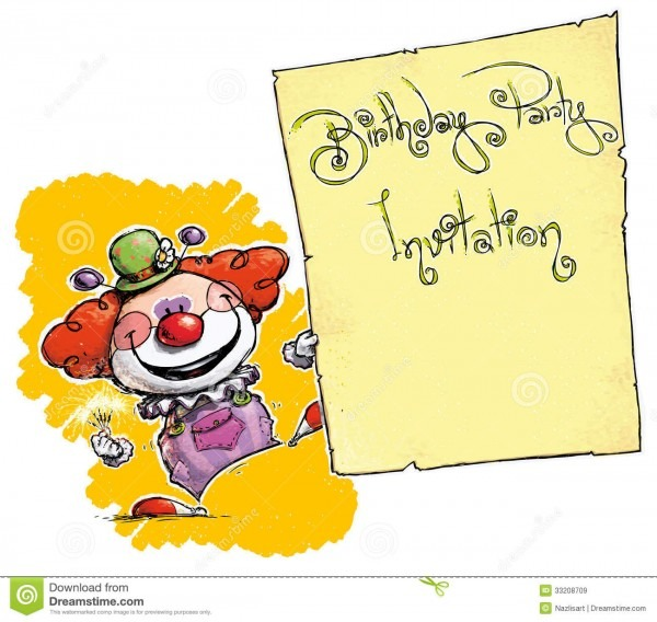 Clown Holding Invitation