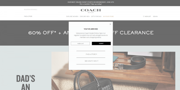 Get Your Coach Outlet Invite