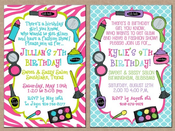 Cool Makeup Party Invitations