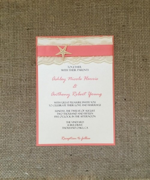 Coral Beach Wedding Invitation, Destination Wedding Invitation