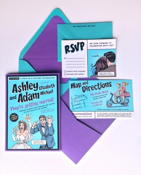 Custom Comic Book Wedding Invitation Kit
