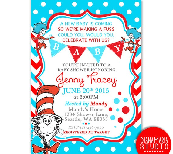 Dr Seuss Invitations Baby Shower