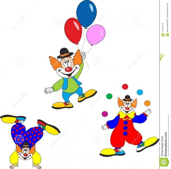Cute Clown Character Design Set  Birthday Or Carnival Party