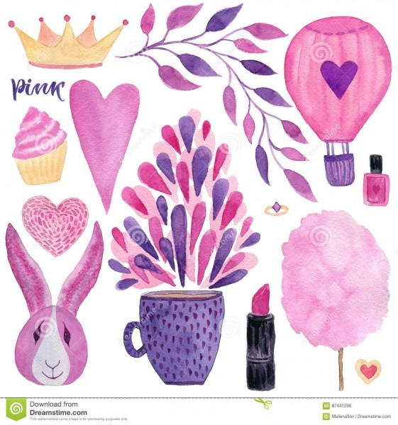 Cute Fashion Watercolor Set  Girly Design Elements For Invitations