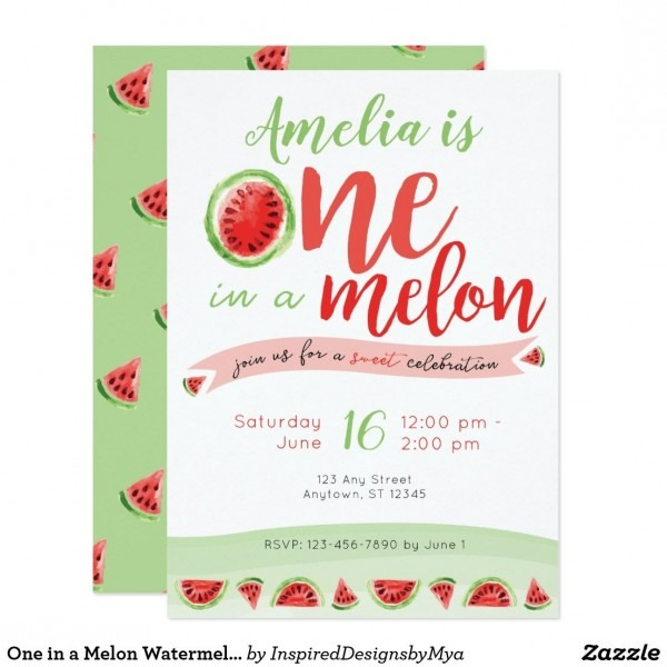 One In A Melon Watermelon First Birthday Invite In 2018