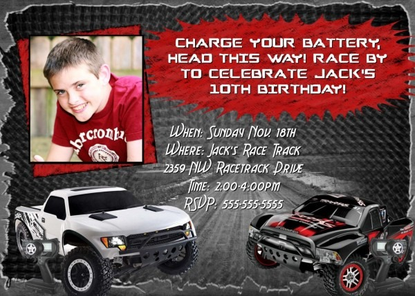 Rc Cars Invitation Birthday Party Card Remote Control R C Car