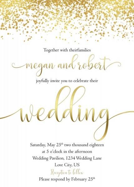 Gold Wedding Invitation, White And Gold Wedding Invite Set