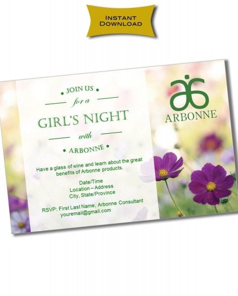 Instant Download Printable Arbonne Party Invitation   Customizable