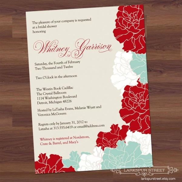 Red And Aqua Floral Wedding Invite   Pin++ For Best Party Invitation Collection   Love