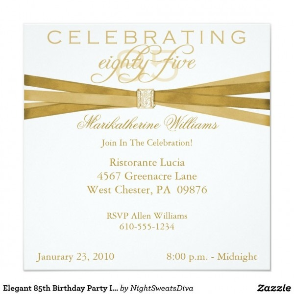 Elegant 85th Birthday Party Invitations 5 25  Square Invitation