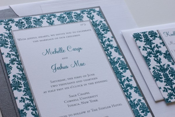 Blush Paperie  Teal & Silver Wedding Invitations