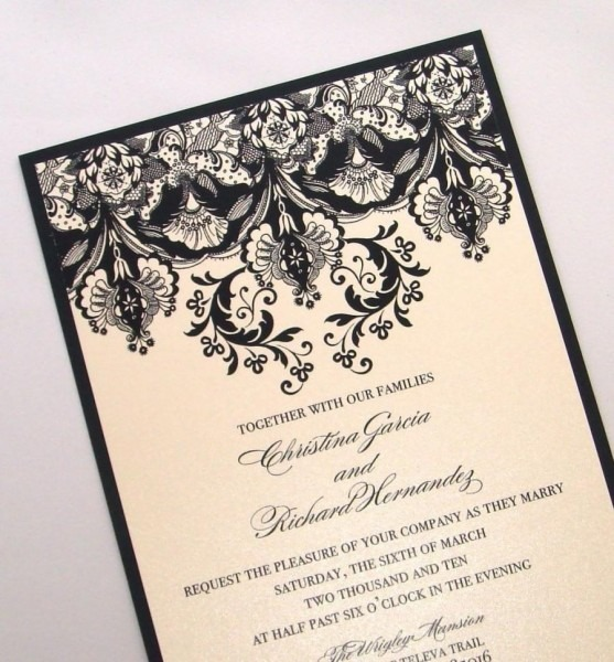 Damask Wedding Invitation Elegant Wedding Invitation