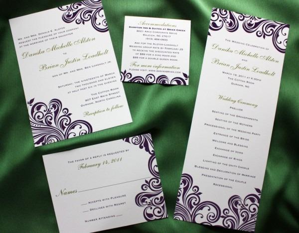 Dark Purple Swirl With Green Accents