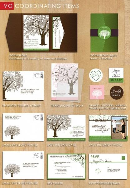 Oak Tree Wedding Invitations, Rustic Wedding Invitation Set