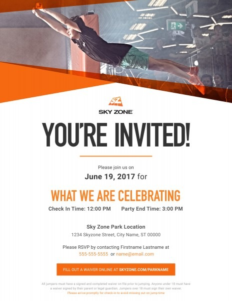 Sky Zone Birthday Invitations