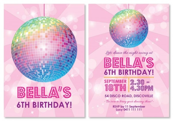 Disco Party Personalised Invitations