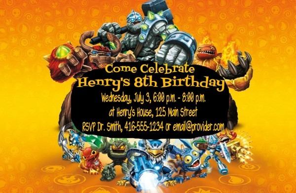 Skylanders Birthday Invitations Template