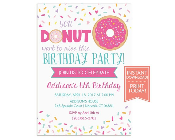 Donut Party Invitations Cool Donut Party Invitations