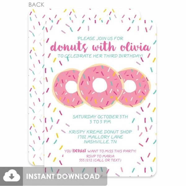 Donut Party Invitations Donut Party Invitations For Party