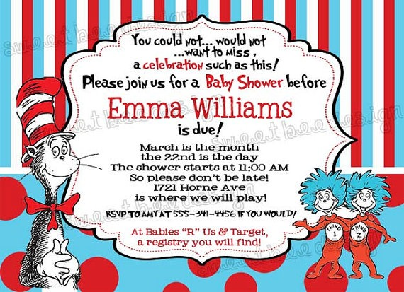Dr Seuss Baby Shower Invitations Printable Free Using An Excellent
